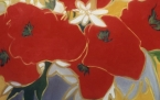 roter strauss in grauer vase  acryl/lwd  100x100cm  bouquet rouge dans vase grise  acrylique/toile